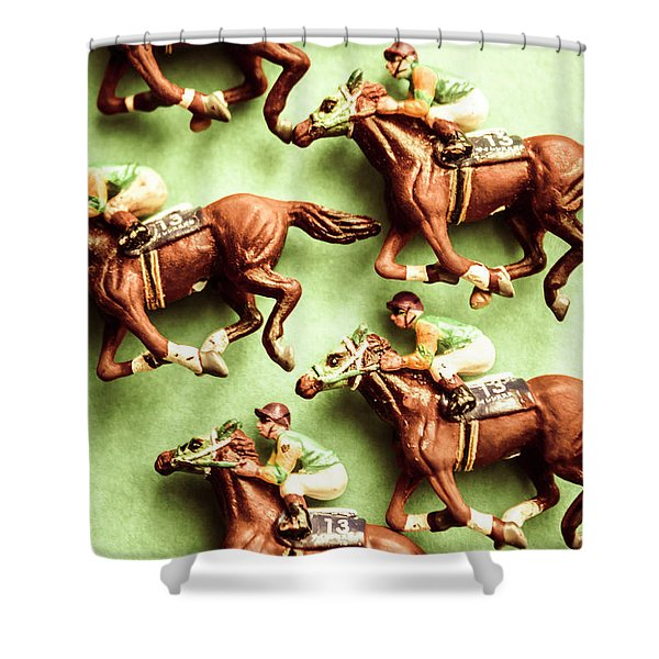 Vintage Racehorse Art Shower Curtain