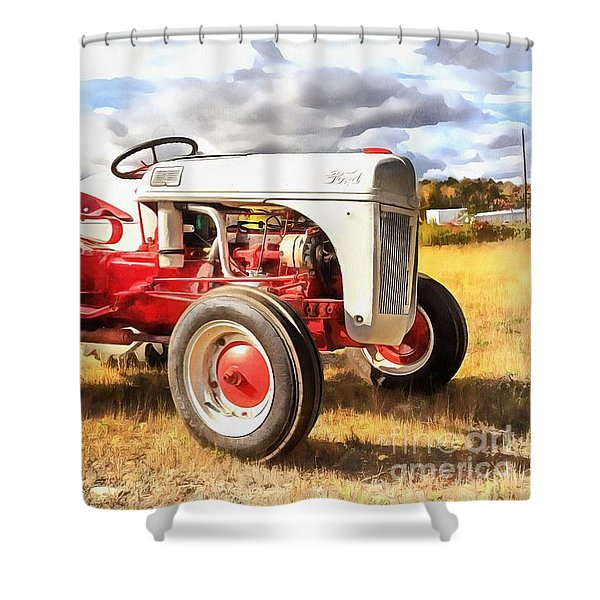 Vintage Red And White Ford Farm Tractor Painting Shower Curtain