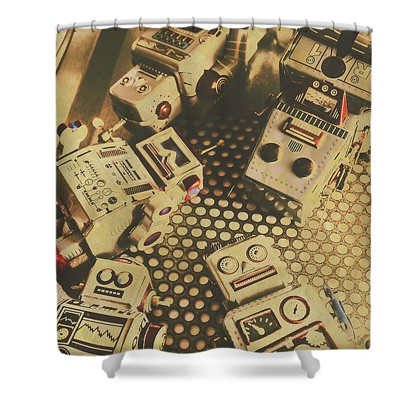 Vintage Robot Charging Zone Shower Curtain