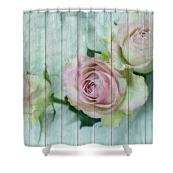 Vintage Shabby Chic Pink Roses On Wood Shower Curtain