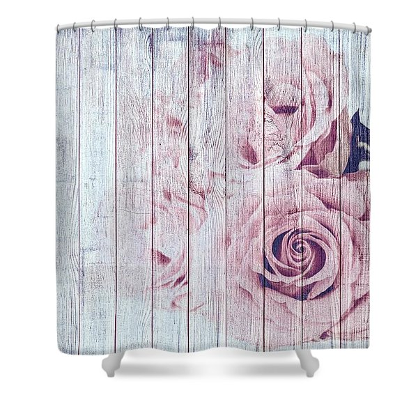 Vintage Shabby Chic Dusky Pink Roses On Blue Wood Effect Background Shower Curtain