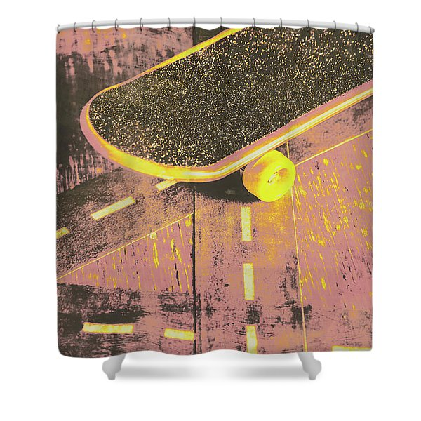 Vintage Skateboard Ruling The Road Shower Curtain
