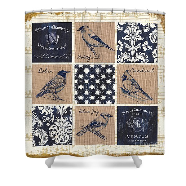 Vintage Songbirds Patch Shower Curtain