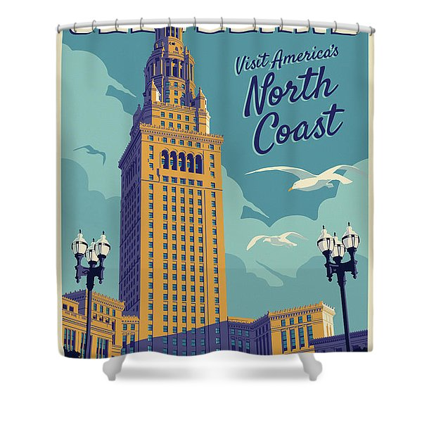 Cleveland Poster - Vintage Style Travel  Shower Curtain