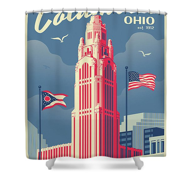 Columbus Poster - Vintage Style Travel Shower Curtain