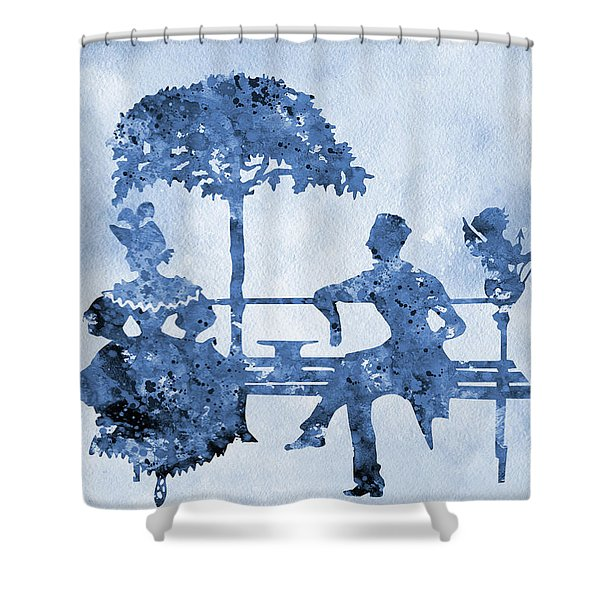 Vintage Style Romantic Poster-blue Shower Curtain