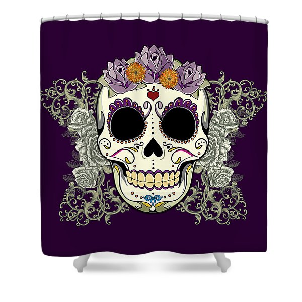 Vintage Sugar Skull And Flowers Shower Curtain