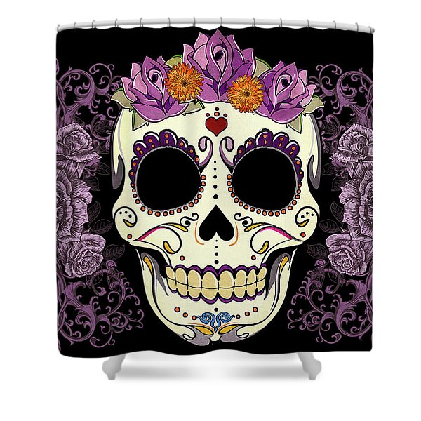 Vintage Sugar Skull And Roses Shower Curtain