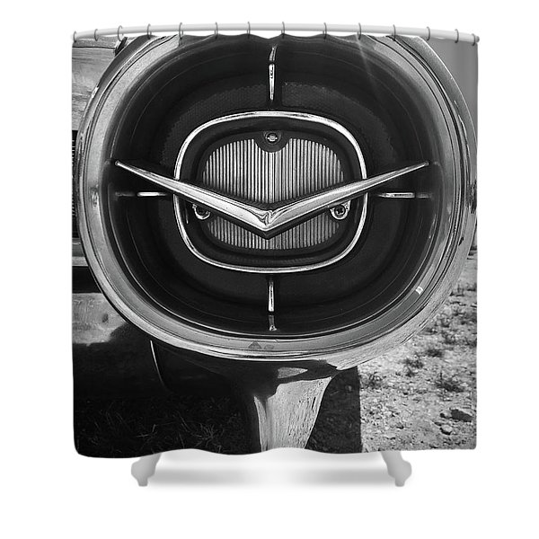 Vintage Tail Fin In Black And White Shower Curtain