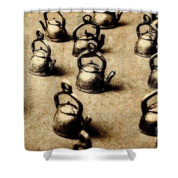 Vintage Teapot Party Shower Curtain