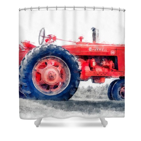Vintage Tractor Watercolor Shower Curtain