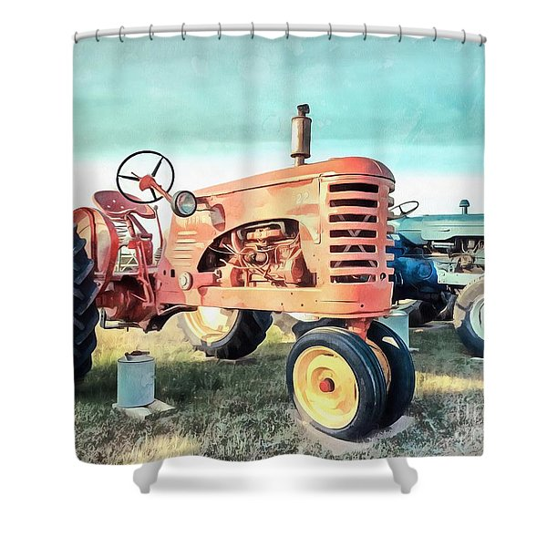Vintage Tractors Acrylic Shower Curtain