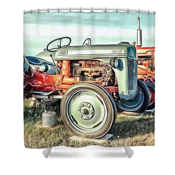 Vintage Tractors Ford  Shower Curtain