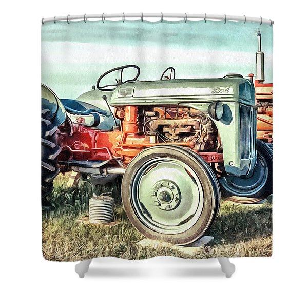 Vintage Tractors Pei Square Shower Curtain