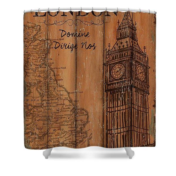 Vintage Travel London Shower Curtain