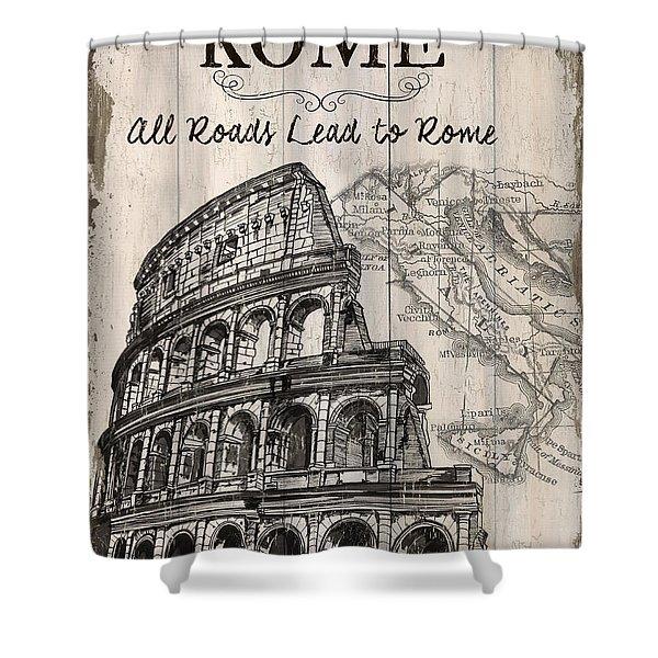 Vintage Travel Poster Shower Curtain