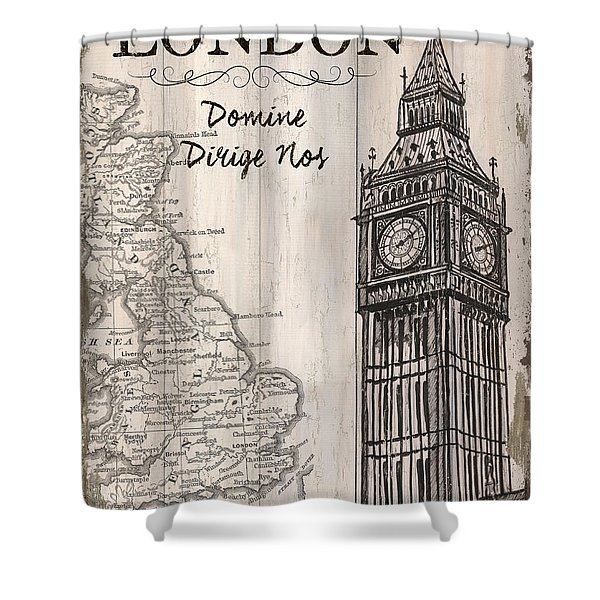 Vintage Travel Poster London Shower Curtain