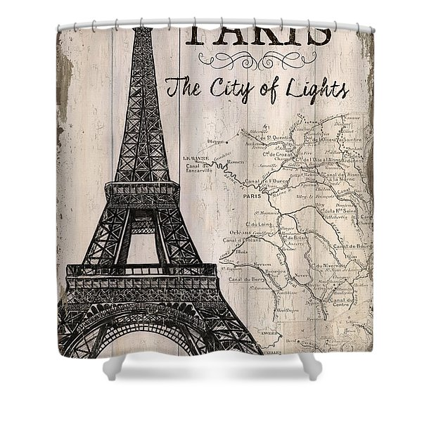 Vintage Travel Poster Paris Shower Curtain