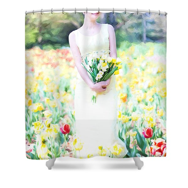 Vintage Val Spring Tulips Shower Curtain