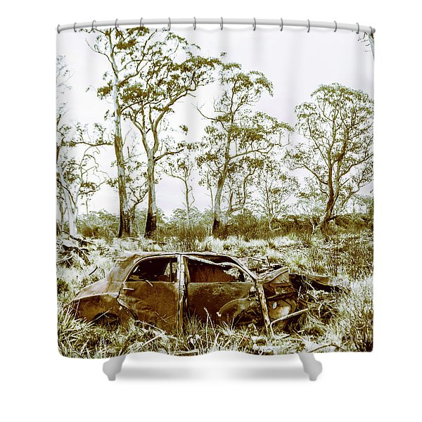Vintage Winter Car Wreck Shower Curtain