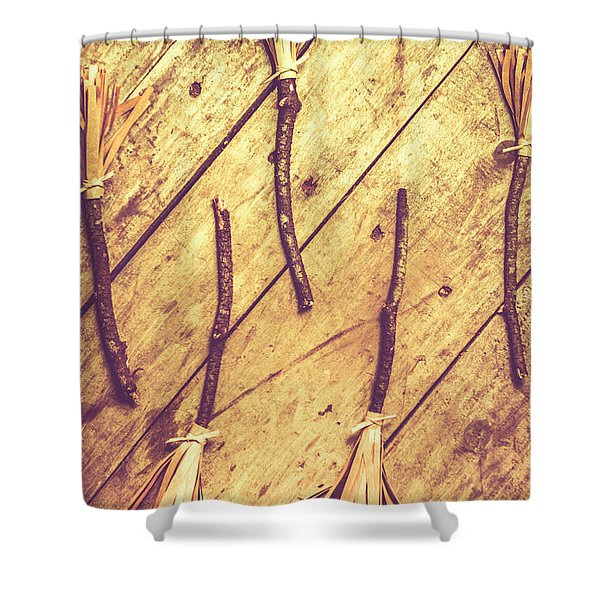 Vintage Witches Broomsticks Shower Curtain