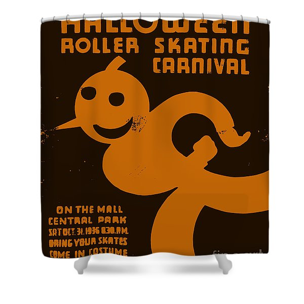 Vintage Wpa Halloween Roller Skating Carnival Poster Shower Curtain