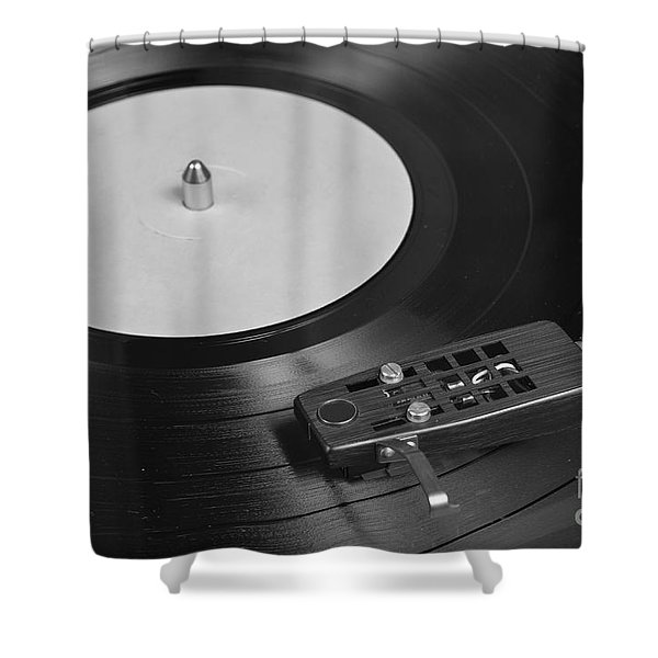 Vinyl Record Playing On A Turntable Overview Shower Curtain