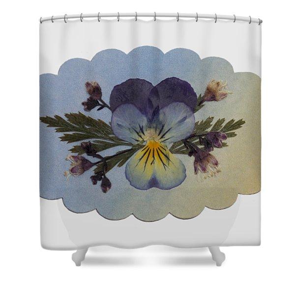 Viola Pressed Flower Arrangement Shower Curtain