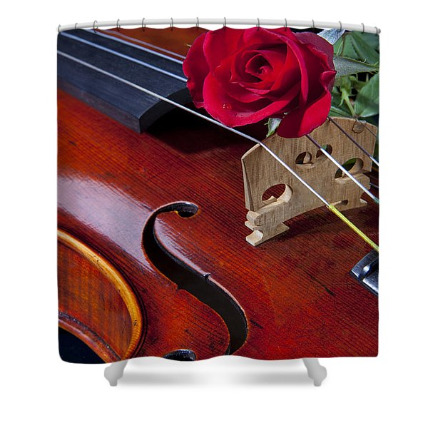 Violin And Red Rose Shower Curtain