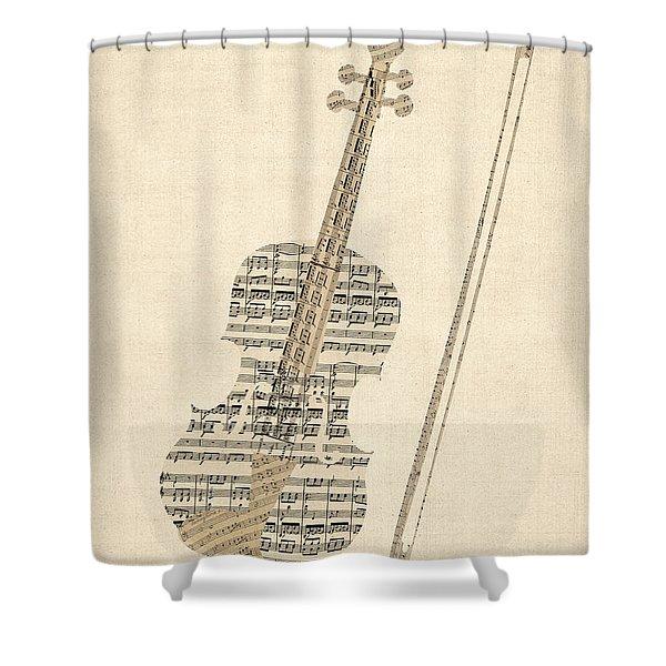 Violin Old Sheet Music Shower Curtain