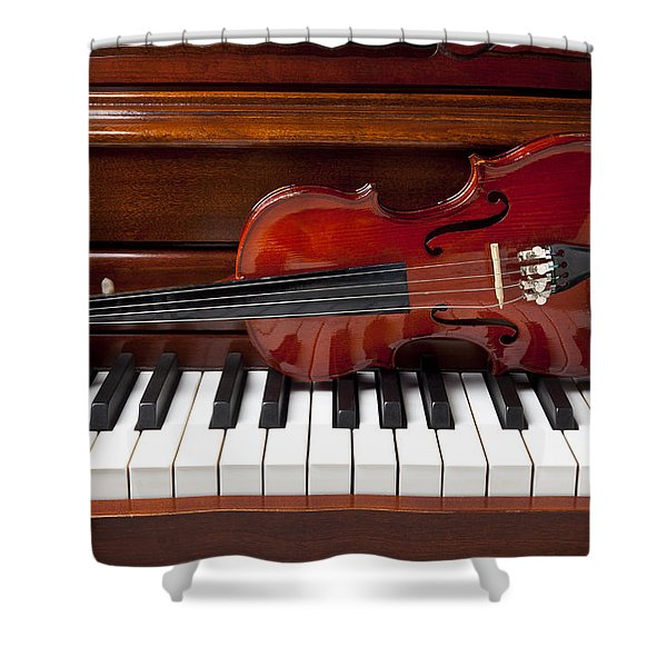 Violin On Piano Shower Curtain
