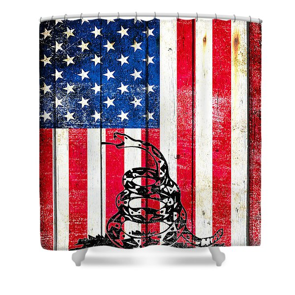Viper On American Flag On Old Wood Planks Vertical Shower Curtain