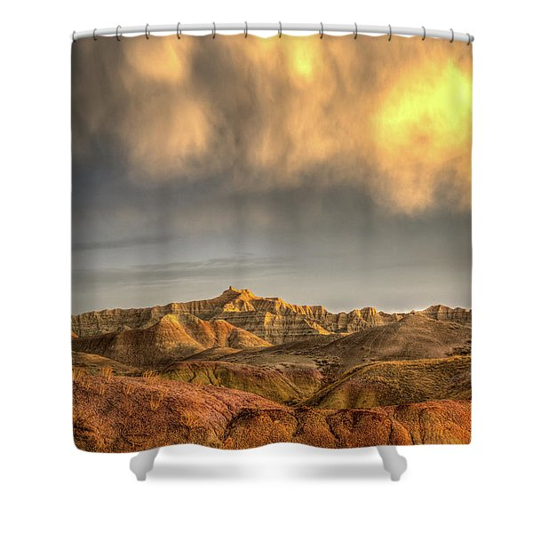 Virga Over The Badlands Shower Curtain