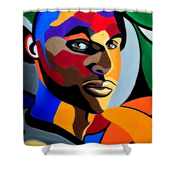 Visionaire, Abstract Male Face Portrait Painting - Illusion Abstract Artwork - Chromatic Shower Curtain