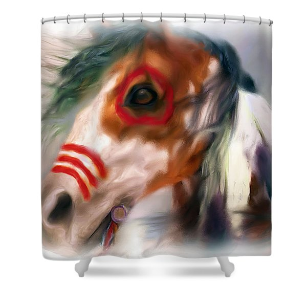 Visionary War Horse Shower Curtain