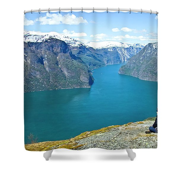 Visitor At Aurlandsfjord Shower Curtain