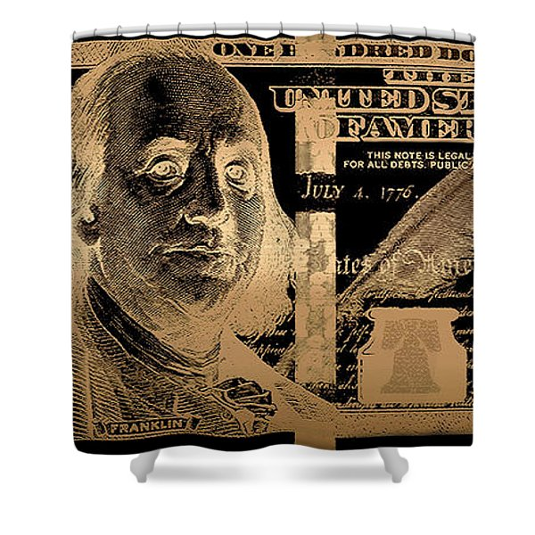 One Hundred Us Dollar Bill - $100 Usd In Gold On Black Shower Curtain