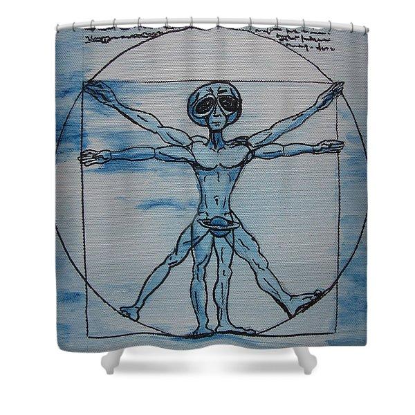 Vitruvian Alien Shower Curtain