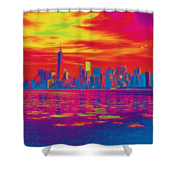 Vivid Skyline Of New York City, United States Shower Curtain