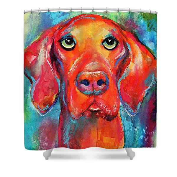Vizsla Dog Portrait Shower Curtain