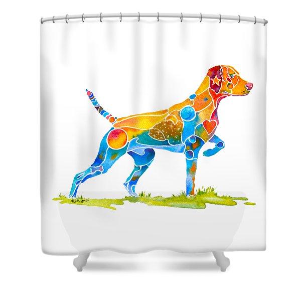 Vizsla On Point Shower Curtain
