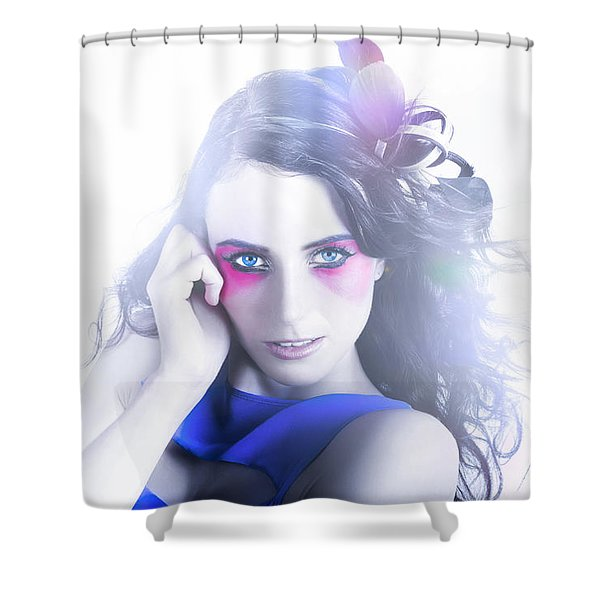Vogue Style Woman With Beautiful Bright Makeup Shower Curtain