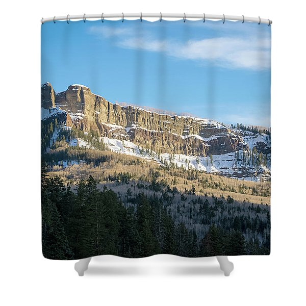 Shower Curtain featuring the photograph Volcanic Cliffs Of Wolf Creek Pass by Jason Coward