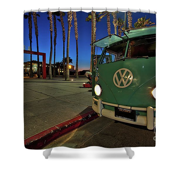 Volkswagen Bus At The Imperial Beach Pier Shower Curtain