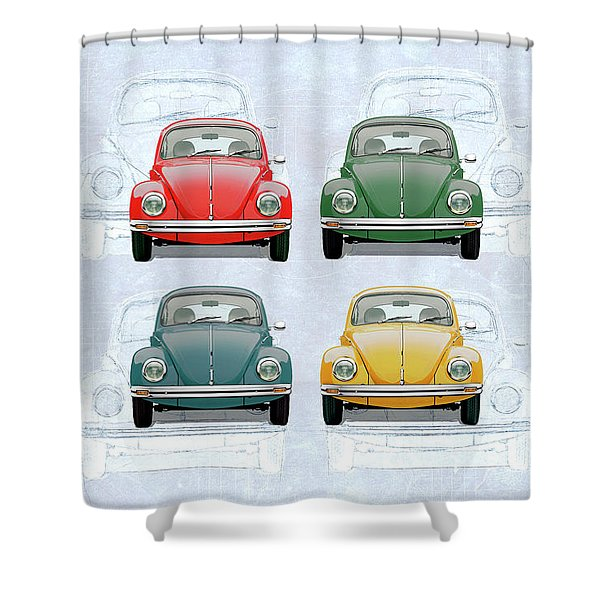 Volkswagen Type 1 - Variety Of Volkswagen Beetle On Vintage Background Shower Curtain