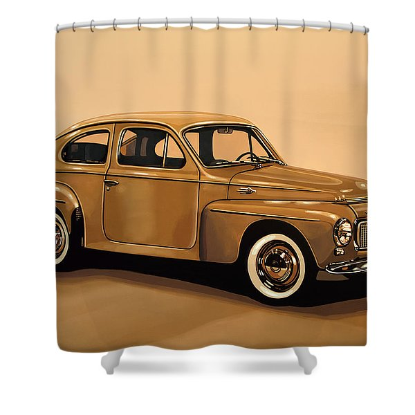 Volvo Pv 544 1958 Painting Shower Curtain