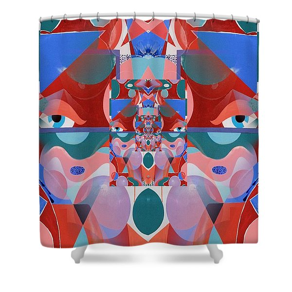 Abstract Vortex In Red Shower Curtain