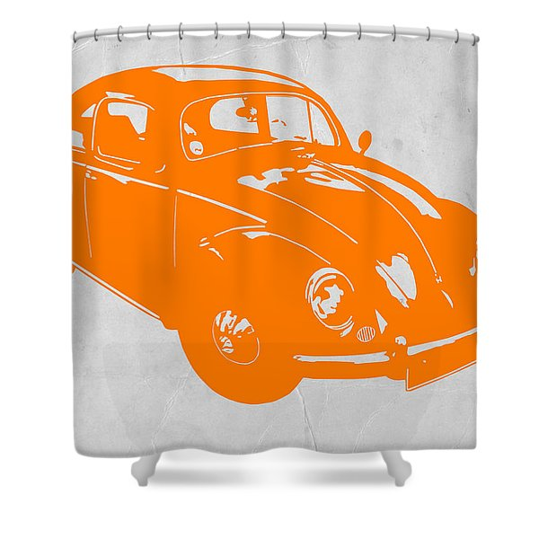 Vw Beetle Orange Shower Curtain
