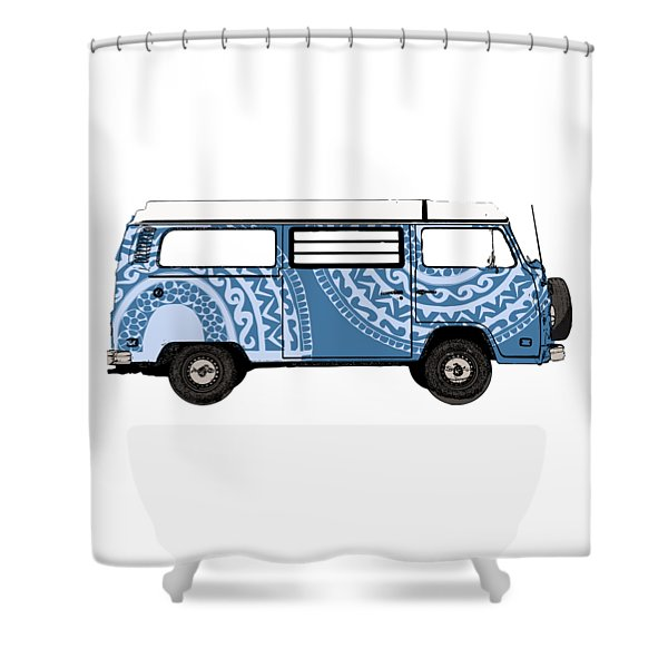 Vw Blue Van Shower Curtain