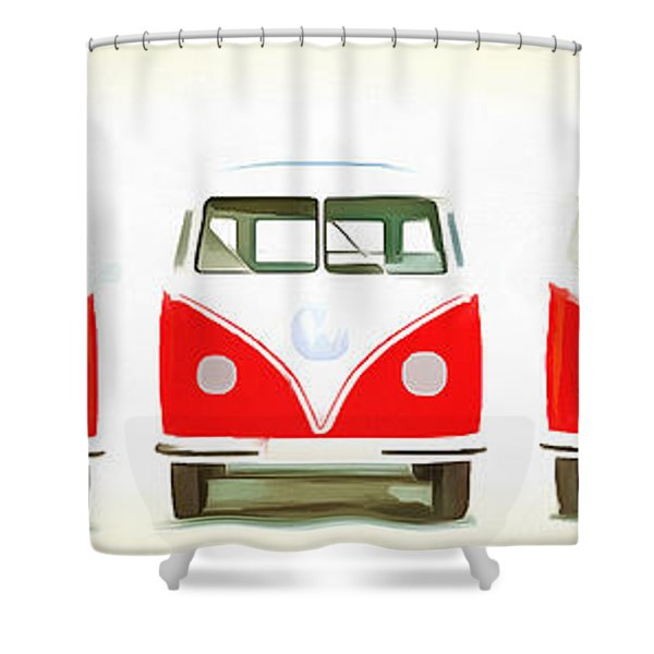 Retro Bus Line Up Painting Shower Curtain